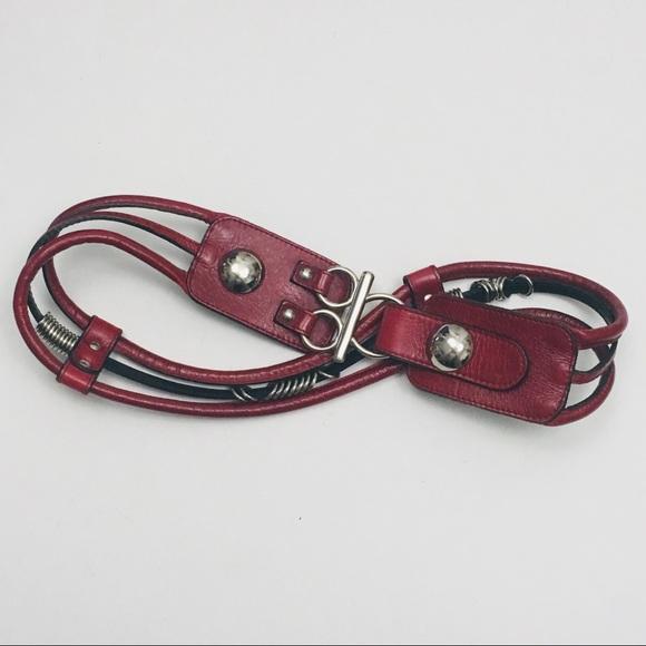 De Lonti Accessories - DE LONTI Red Leather Statement Belt Medium Italy